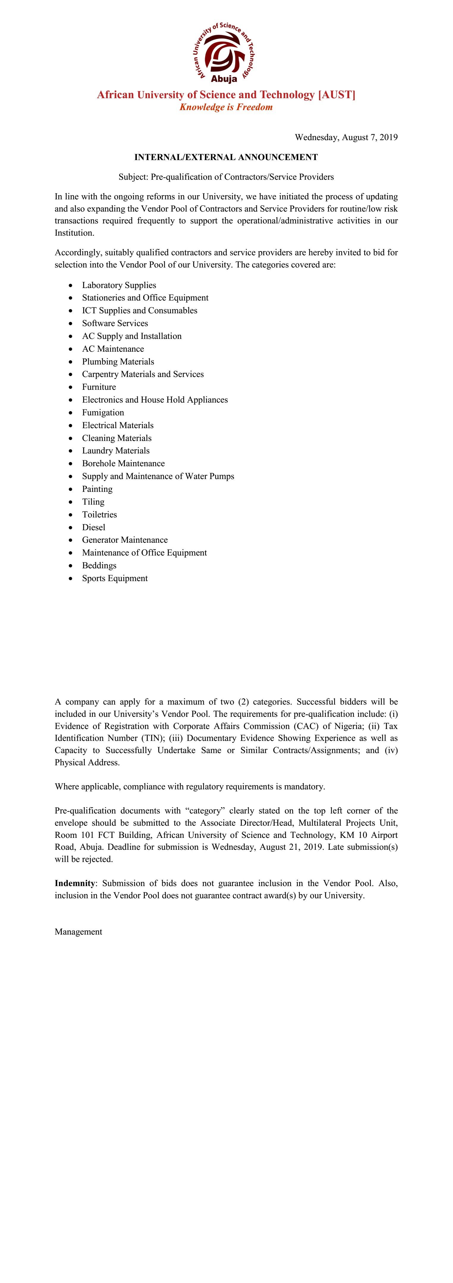 INTERNAL/EXTERNAL ANNOUNCEMENT (Pre-qualification of Contractors/Service Providers)