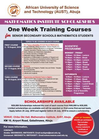 Mathematics Institute Scholarships (for Secondary Schools Mathematics Students)