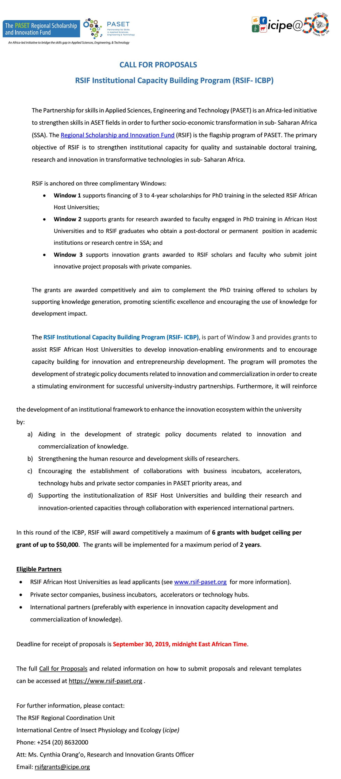 RSIF Call for Proposal